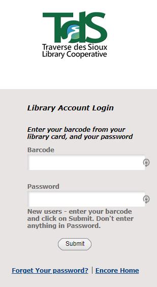 Catalog login screen