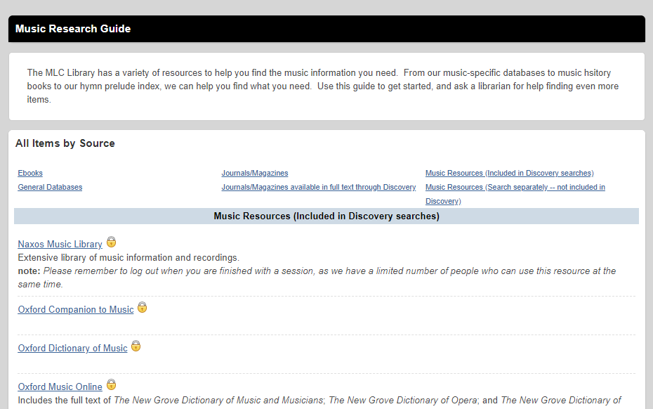 Sample Library Guide: Music